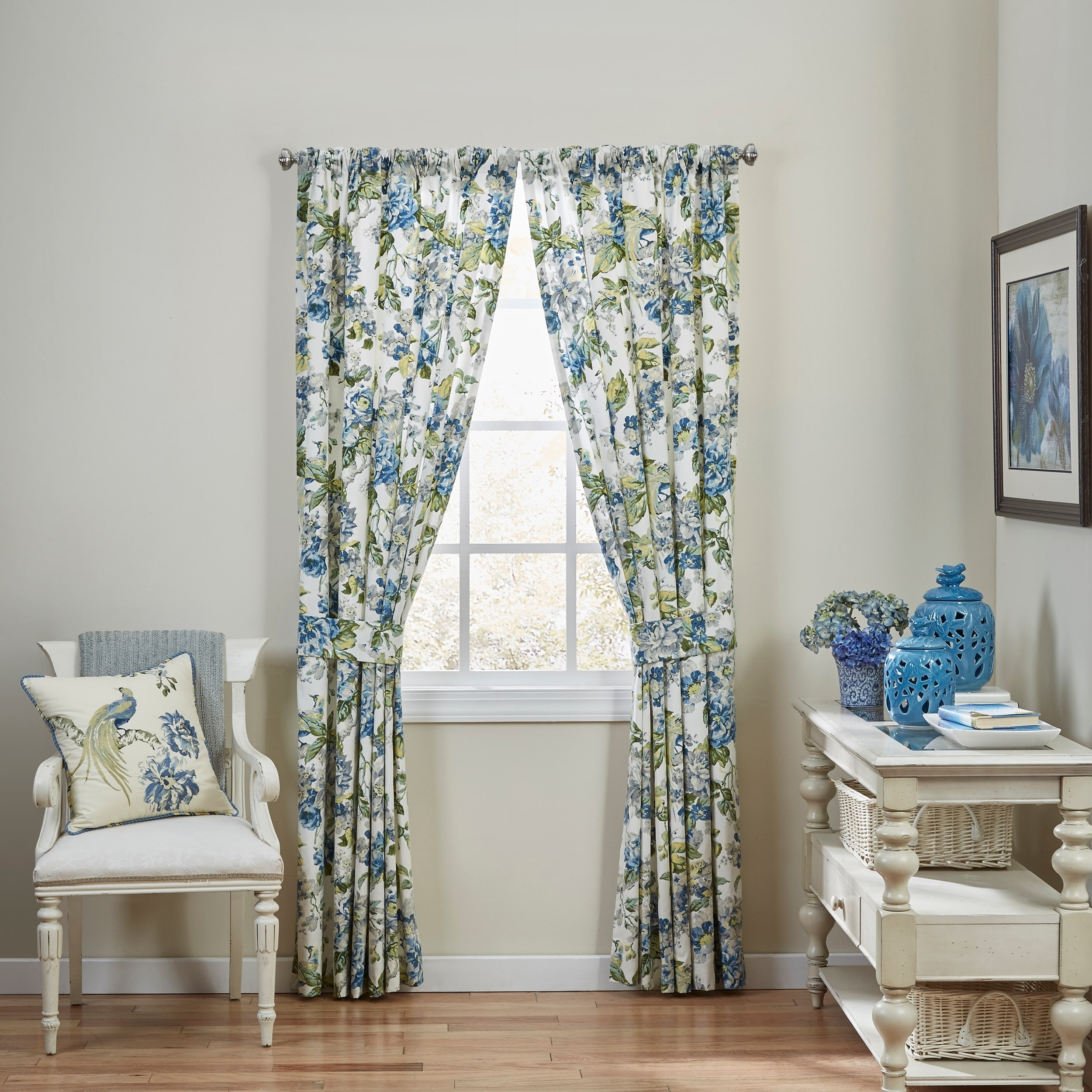 Waverly Floral Engagement Floral Window Drapery Pair, Gre...