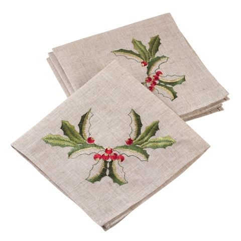 Embroidered Holiday Holly Linen Blend Napkin (Set of 4)