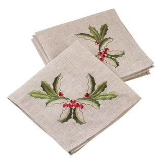 Embroidered Holly Design Holiday Linen Blend Napkin Set