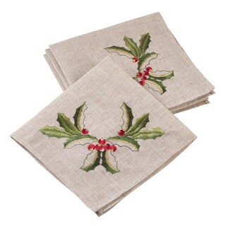 Embroidered Holly Design Holiday Linen Blend Napkin Set