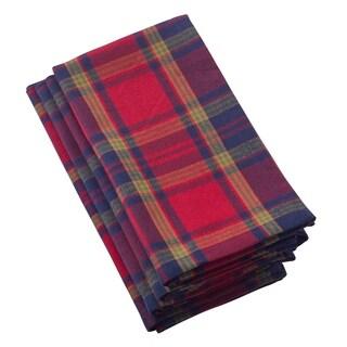Glendora Collection Classic Plaid Design Cotton Napkin Set