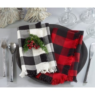 Buffalo Plaid Classic Design Fringed Cotton Placemat Set