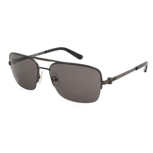 d83e54b5236 Shop Calvin Klein CK8001S-033 Men s Black Frame Grey Lens Sunglasses - Free  Shipping Today - Overstock - 17976022