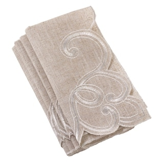 Embroidered Scallop Design Natural Linen Blend Napkin (Set of 4)
