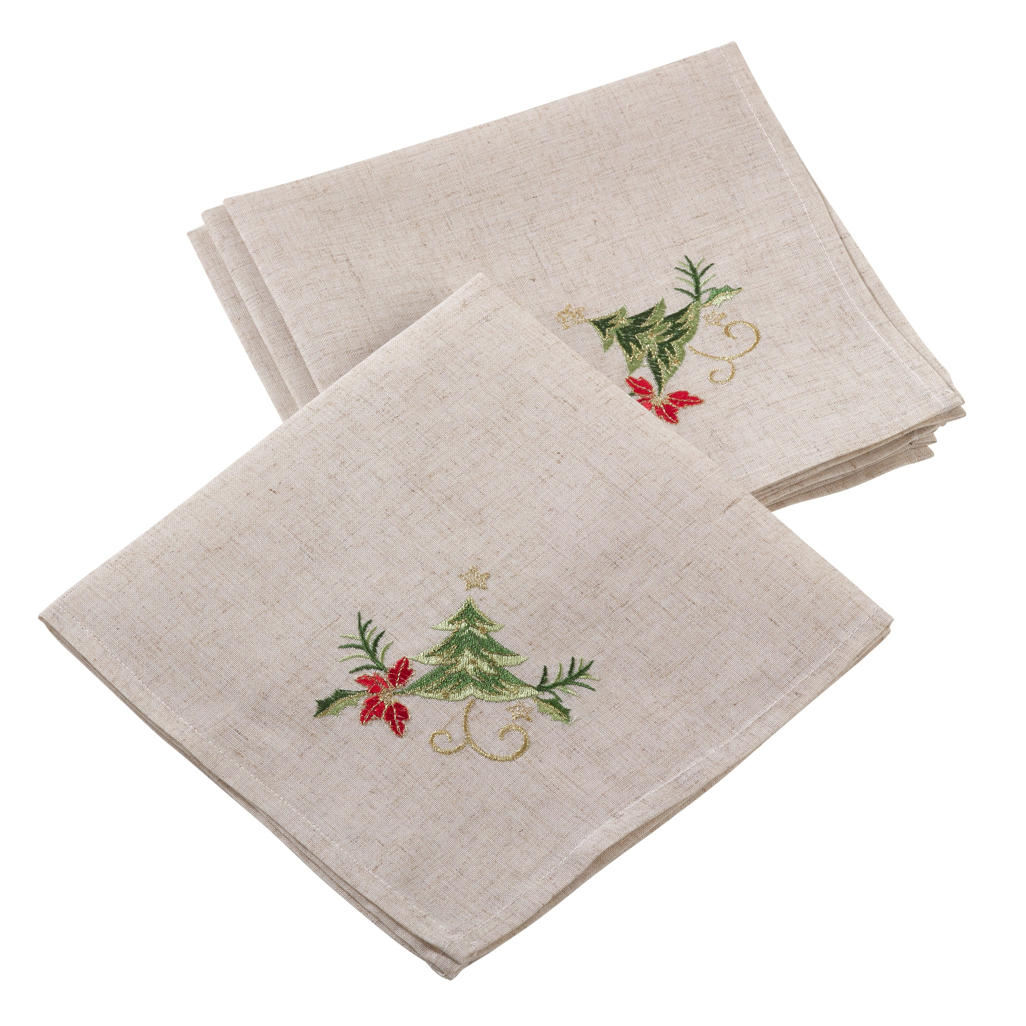 Embroidered Christmas Tree Design Holiday Linen Blend Napkin Set Overstock 17976033