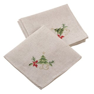 Embroidered Christmas Tree Design Holiday Linen Blend Napkin Set