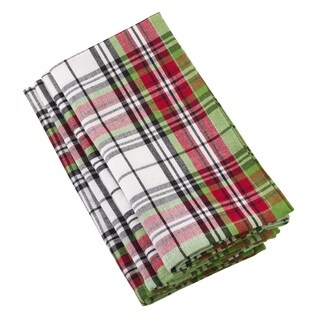 Hensel Collection Classic Plaid Design Cotton Napkin (Set of 4)
