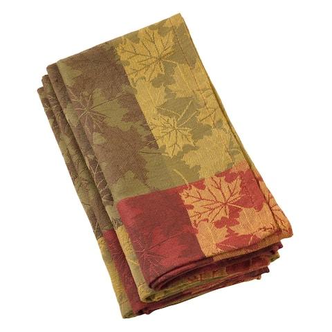 Fall Foliage Leaf Design Jacquard Cotton Napkin Set