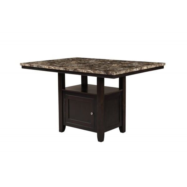 Best Quality Furniture Counter Height Faux Marble Table Top Dining With Storage Compartment Light