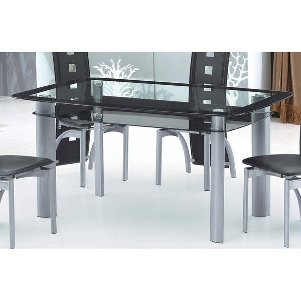 Shop Best Quality Furniture Glass Top Dining Table Greyblack