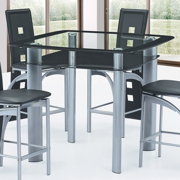 Best Quality Furniture Modern Counter Height Gl Top Dining Table Grey Black Free Shipping Today 17976062