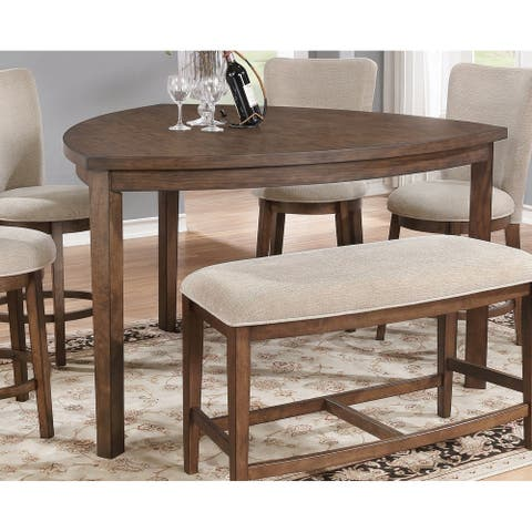 Best Quality Furniture Triangular Pecan Counter Height Dining Table - Brown