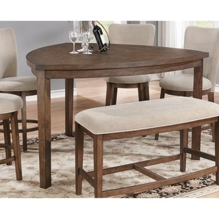 Best Quality Furniture Triangular Pecan Counter Height Dining Table   Brown