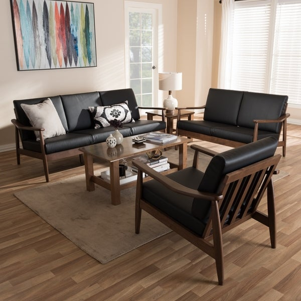 Living Room Sets For Sale Cheap: Shop Mid-Century 3-Piece Living Room Set By Baxton Studio
