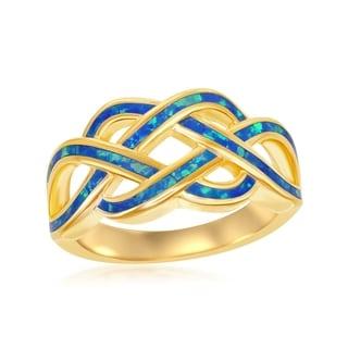 La Preciosa Sterling Silver High Polish Gold Plated Blue Opal Open Wave Ring