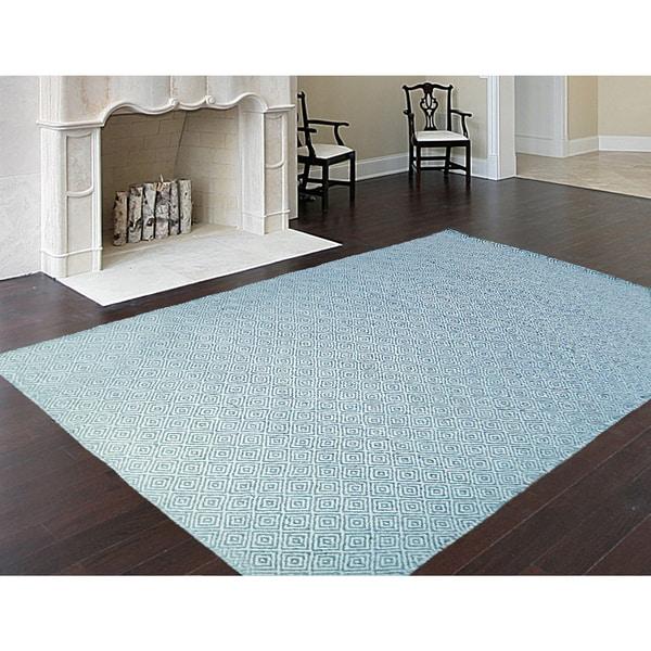 Handmade Flat Weave Turquoise Ivory Wool Area Rug Carpet (2'6 x 7'3)