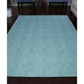 Turquoise/Ivory Wool Geometric Handmade Flat Weave Area Rug (9' x 12')