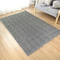 Handmade Flat Weave Charcoal Wool Area Rug Carpet - 9' x 12'