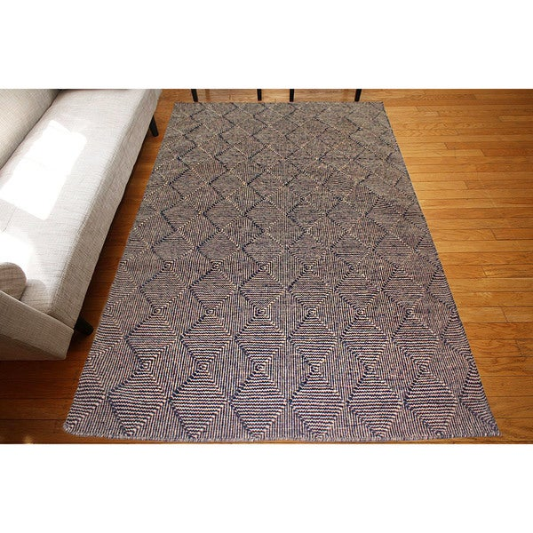 Flat Weave Black Wool Handmade Geometric Area Rug (9' x 12')