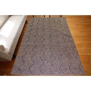 Flat Weave Black Wool Handmade Geometric Area Rug (9' x 12')