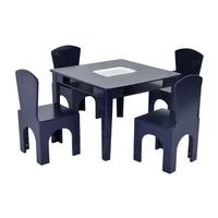 NUI&Kids 5 Piece Navy Table and Chair Set Storage Bucket