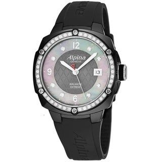 Alpina Women's AL240MPWD3AEDC6 'Avalanche Extreme' Black Mother of Pearl Diamond Dial Black Rubber Swiss Quartz Watch