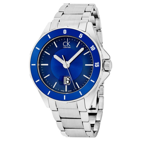 Calvin Klein Men's 'Play' Blue Dial Stainless Steel Swiss Quartz Watch