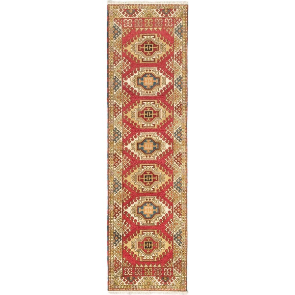 eCarpetGallery Hand-Knotted Royal Kazak Orange Wool Rug (2'8 x 9'9)