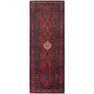eCarpetGallery Hand-Knotted Senneh Blue, Red Wool Rug (4'3 x 11'3)