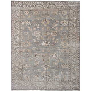 eCarpetGallery Hand-Knotted Jules Ushak Grey  Bamboo Silk Rug (9'0 x 11'10)