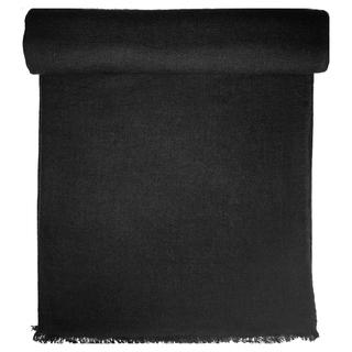 Black Cashmere Throw in Herringbone Weave