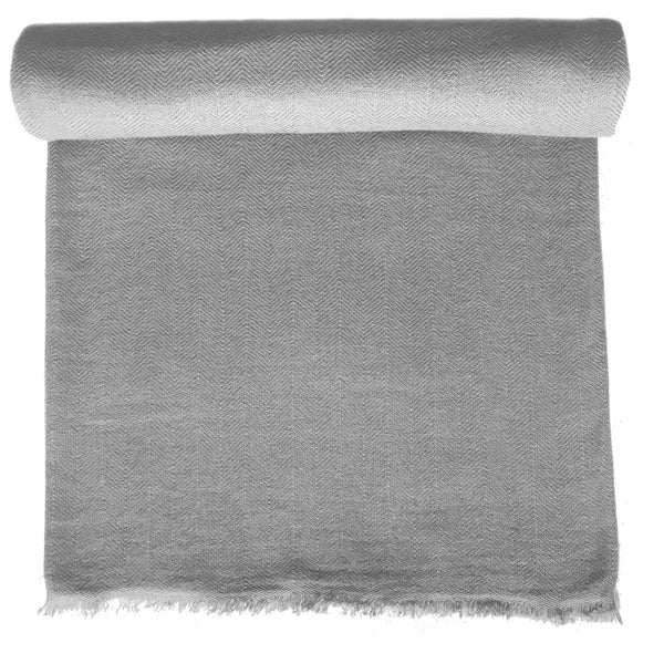 Heather Grey Cashmere Throw in Herringbone Weave