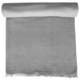 Heather Grey Cashmere Throw in Herringbone Weave