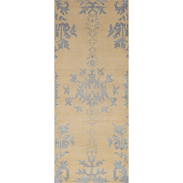 "eCarpetGallery Hand-Knotted La Seda Ivory Wool, Art Silk Rug (2'5 x 6'2) - 2'5"" x 6'2"""