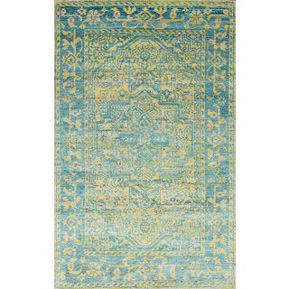 eCarpetGallery Hand-Knotted Sari Silk Blue Sari Silk Rug (4'11 x 7'9)