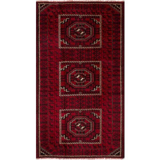 """ECARPETGALLERY Hand-Knotted Finest Baluch Red  Wool Rug (4'3 x 7'10) - 4'3""""x7'10"""""""