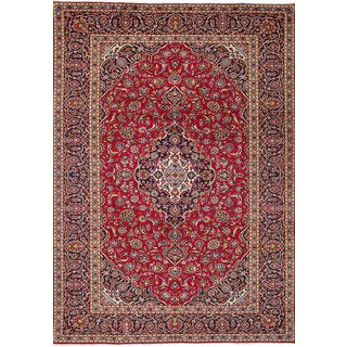 eCarpetGallery Hand-Knotted Kashan Red Wool Rug (7'11 x 11'11)