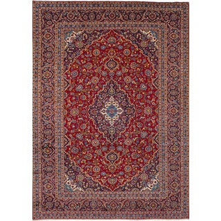 eCarpetGallery Hand-Knotted Kashan Red Wool Rug (7'11 x 11'6)