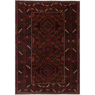 eCarpetGallery Hand-Knotted Rizbaft Red  Wool Rug (4'0 x 6'2)