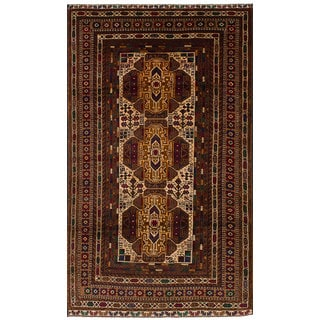 eCarpetGallery Hand-Knotted  Rizbaft Ivory, Red  Wool Rug (3'7 x 6'8)