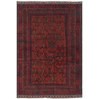 eCarpetGallery Hand-Knotted Royal Baluch Brown, Red Wool Rug (4'2 x 6'5)