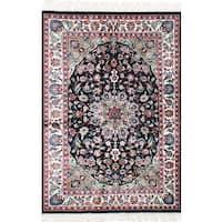 eCarpetGallery Hand-Knotted 300L Silk Black  Art Silk Rug (4'0 x 6'0)