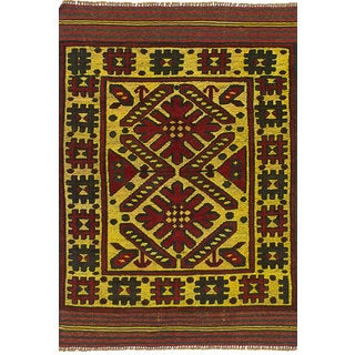 Hand-knotted Color Transition Red Wool Rug - 2'8 x 4'2