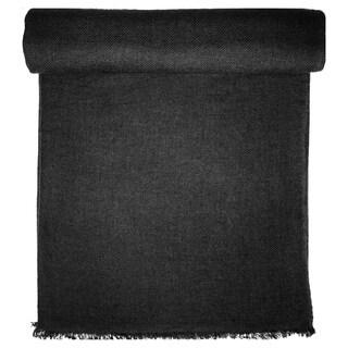 Charcoal Grey Cashmere Throw in Herringbone Weave