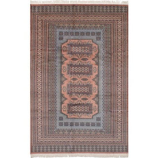 eCarpetGallery Hand-Knotted Finest Peshawar Bokhara Brown  Wool Rug (6'2 x 9'9)