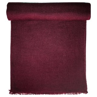 Burgundy Cashmere Throw in Herringbone Weave