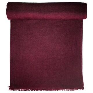 Burgundy Cashmere Throw in Herringbone Weave