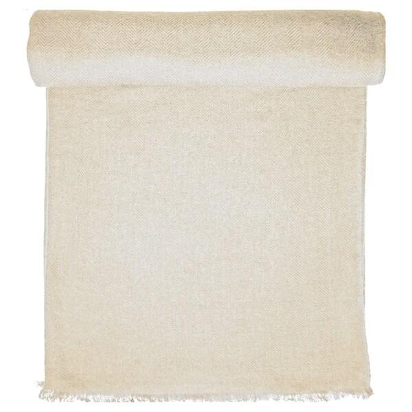 Ivory Cashmere Throw in Herringbone Weave