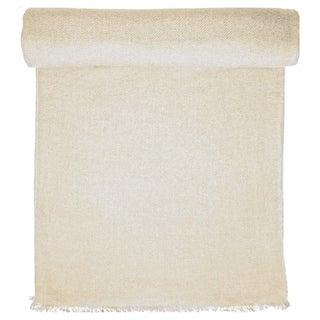 Ivory Cashmere Throw in Herringbone Weave