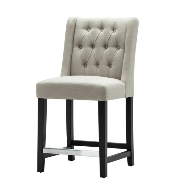 Best Quality Furniture Beige Linen Upholstered Tufted Counter Height Chair Set Of 2
